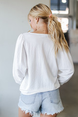 Puff Sleeve Blouse in White Back View