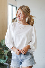 Puff Sleeve Blouse in White Front View