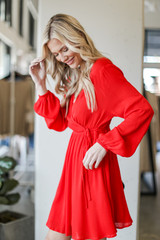 Wrap Dress in Red Side View