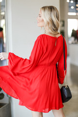 Wrap Dress in Red Back View