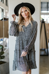 Black - Tiered Leopard Dress from Dress Up