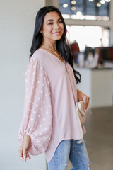Swiss Dot Blouse in Mauve Side View