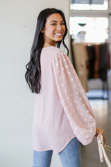 Swiss Dot Blouse in Mauve Back View