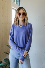 Blue - Model wearing a Light Knit Pullover with sunglasses