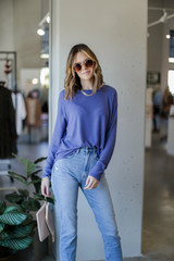Blue - Dress Up model wearing a Light Knit Pullover with sunglasses