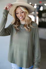 Olive - Light Knit Pullover Front View
