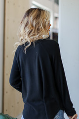 Light Knit Pullover in Black Back View