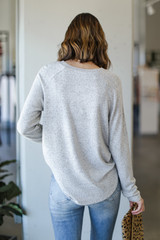 Light Knit Pullover in Heather Grey Back View