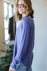 Light Knit Pullover in Blue Side View