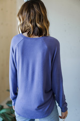 Light Knit Pullover in Blue Back View