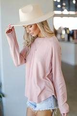 Light Knit Pullover in Blush Side View