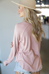 Light Knit Pullover in Blush Back View