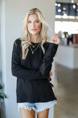 Black - Dress Up model wearing a Loose Fit Sweater