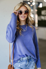 Blue - Model wearing a Loose Fit Sweater with sunglasses