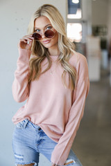 Blush - Model wearing a Loose Fit Sweater with jeans
