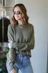Olive - Loose Fit Sweater Front View
