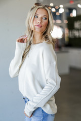 Loose Fit Sweater in Ivory Side View