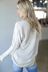 Loose Fit Sweater in Ivory Back View