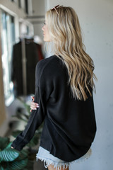Loose Fit Sweater in Black Back View