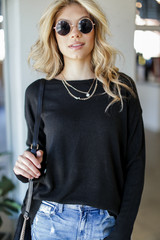 Loose Fit Sweater in Black Front View