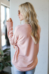 Loose Fit Sweater in Blush Back View