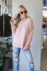 Loose Fit Sweater in Blush Front View