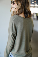Loose Fit Sweater in Olive Back View