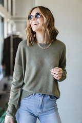Loose Fit Sweater in Olive Front View