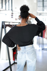 Cropped Surplice Blouse Back View