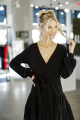 Black - Ribbed Knit Tiered Surplice Dress from Dress Up
