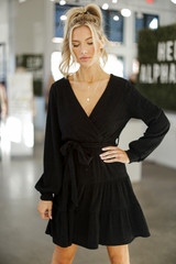 Black - Ribbed Knit Tiered Surplice Dress