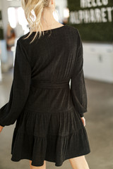 Ribbed Knit Tiered Surplice Dress Back View