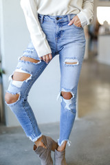 Distressed Skinny Jeans Front View
