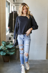 Cropped Pullover in Black Front View