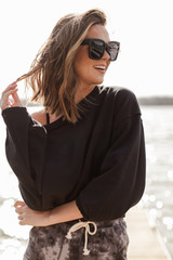 Black - Dress Up model wearing a Cropped Pullover