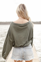 Cropped Pullover in Olive Back View