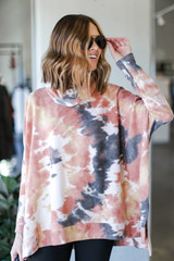 Blush - Oversized Tie-Dye Brushed Knit Top