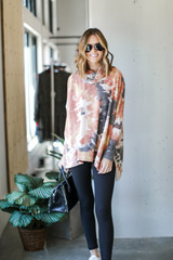 Dress Up model wearing an Oversized Tie-Dye Brushed Knit Top with leggings