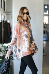 Oversized Tie-Dye Brushed Knit Top Side View