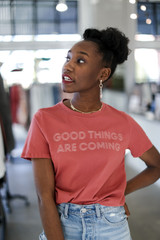 Model wearing the Good Things Are Coming Graphic Tee