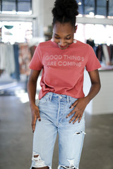 Dress Up model wearing the Good Things Are Coming Graphic Tee Front View
