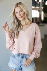 Blush - Model wearing a Cropped Pullover