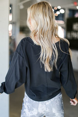 Cropped Pullover in Black Back View