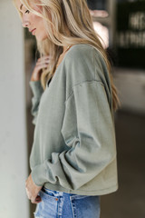 Cropped Pullover in Olive Side View