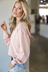 Cropped Pullover in Blush Side View