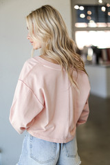 Cropped Pullover in Blush Back View