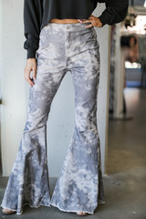 Grey - Tie-Dye Corduroy Flare Pants from Dress Up