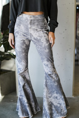 Close Up of Tie-Dye Corduroy Flare Pants