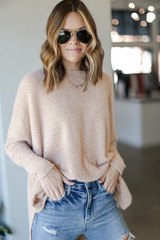 Taupe - Dress Up model wearing an Oversized Fuzzy Knit Top with jeans