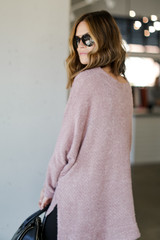 Oversized Fuzzy Knit Top in Lavender Back View
